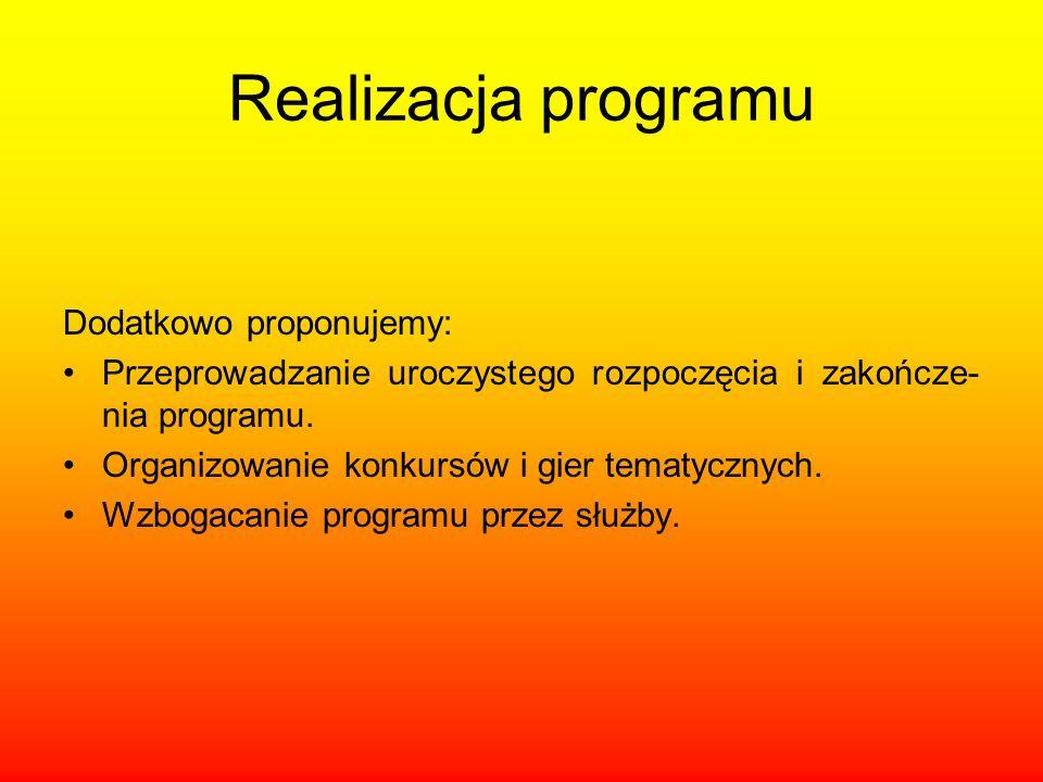 Realizacja programu Dodatkowo proponujemy: Przeprowadzanie uroczystego rozpoczęcia i zakończe- nia programu. Organizowanie konkursów i gier tematyczny