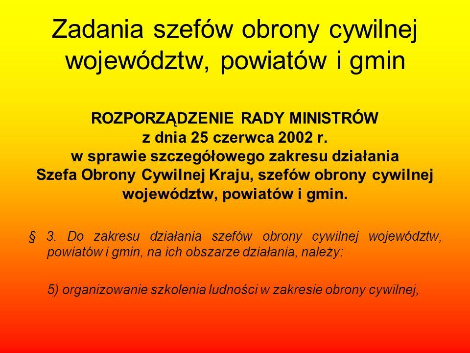 Zadania szefów obrony cywilnej województw, powiatów i gmin ROZPORZĄDZENIE RADY MINISTRÓW z dnia 25 czerwca 2002 r. w sprawie szczegółowego zakresu dzi