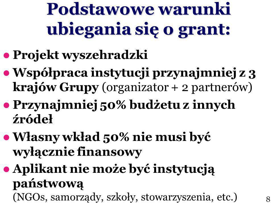 Podstawowe warunki ubiegania się o grant: Projekt wyszehradzki Współpraca instytucji przynajmniej z 3 krajów Grupy (organizator + 2 partnerów) Przynajmniej 50% budżetu z innych źródeł Własny wkład 50% nie musi być wyłącznie finansowy Aplikant nie może być instytucją państwową (NGOs, samorządy, szkoły, stowarzyszenia, etc.) 8