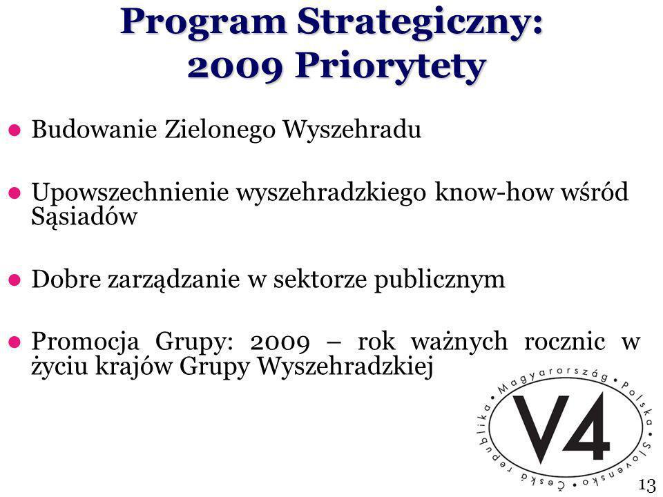 Program Strategiczny: 2009 Priorytety Budowanie Zielonego Wyszehradu Upowszechnienie wyszehradzkiego know-how wśród Sąsiadów Dobre zarządzanie w sektorze publicznym Promocja Grupy: 2009 – rok ważnych rocznic w życiu krajów Grupy Wyszehradzkiej 13