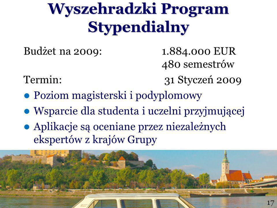 Wyszehradzki Program Stypendialny Budżet na 2009: 1.884.000 EUR 480 semestrów Termin: 31 Styczeń 2009 Poziom magisterski i podyplomowy Wsparcie dla studenta i uczelni przyjmującej Aplikacje są oceniane przez niezależnych ekspertów z krajów Grupy 1617