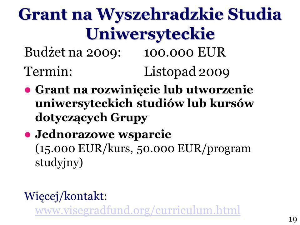 Budżet na 2009:100.000 EUR Termin: Listopad 2009 Grant na rozwinięcie lub utworzenie uniwersyteckich studiów lub kursów dotyczących Grupy Wyszehradzkiej Jednorazowe wsparcie (15.000 EUR/kurs, 50.000 EUR/program studyjny) Więcej/kontakt: www.visegradfund.org/curriculum.html www.visegradfund.org/curriculum.html Grant na Wyszehradzkie Studia Uniwersyteckie 19