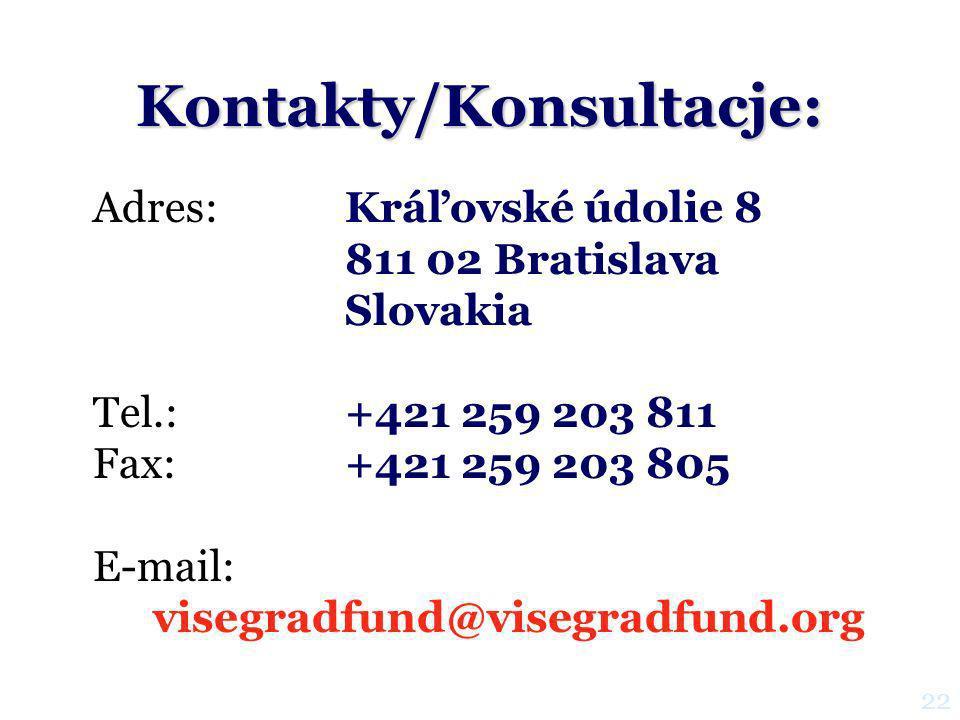 Kontakty/Konsultacje: Adres:Kráľovské údolie 8 811 02 Bratislava Slovakia Tel.: +421 259 203 811 Fax:+421 259 203 805 E-mail: visegradfund@visegradfund.org 22