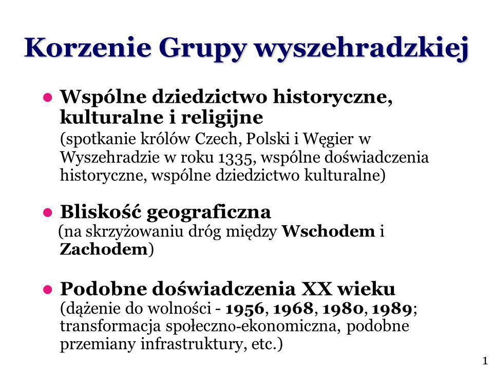 Korzenie Grupy wyszehradzkiej Wspólne dziedzictwo historyczne, kulturalne i religijne (spotkanie królów Czech, Polski i Węgier w Wyszehradzie w roku 1335, wspólne doświadczenia historyczne, wspólne dziedzictwo kulturalne) Bliskość geograficzna (na skrzyżowaniu dróg między Wschodem i Zachodem) Podobne doświadczenia XX wieku (dążenie do wolności - 1956, 1968, 1980, 1989; transformacja społeczn o- ekonomiczna, podobne przemiany infrastruktury, etc.) 1