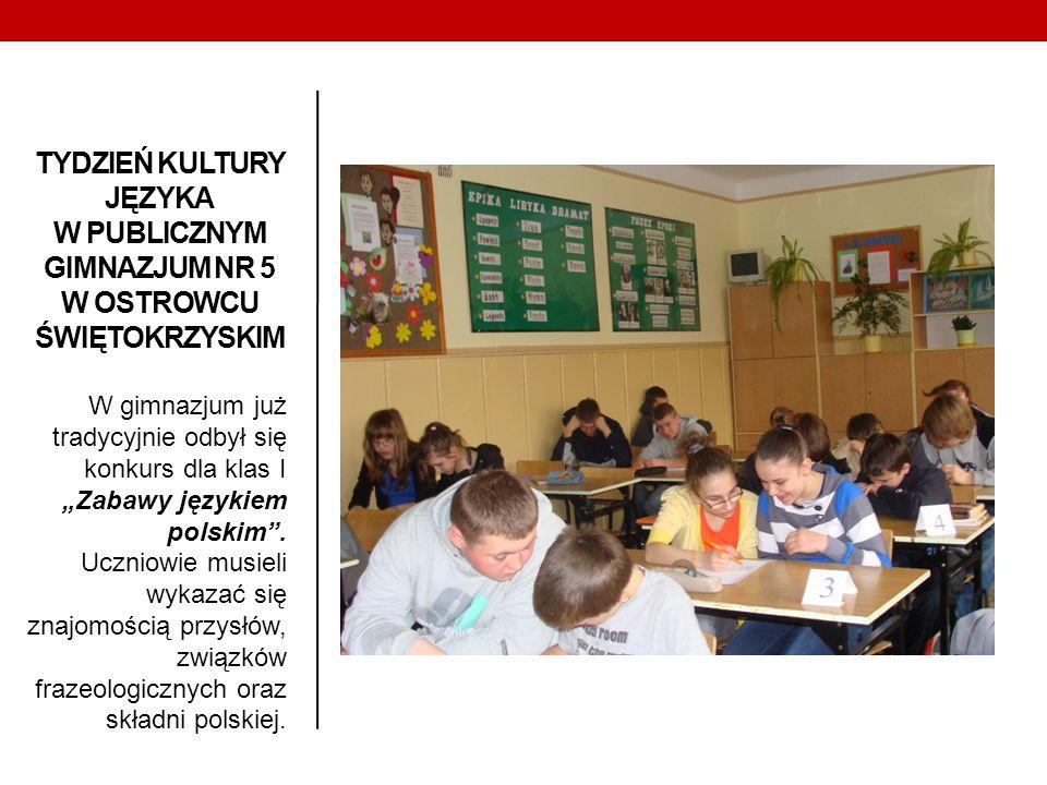 W gimnazjum już tradycyjnie odbył się konkurs dla klas I Zabawy językiem polskim. Uczniowie musieli wykazać się znajomością przysłów, związków frazeol
