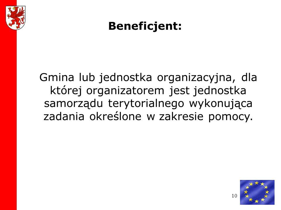 10 Gmina lub jednostka organizacyjna, dla której organizatorem jest jednostka samorządu terytorialnego wykonująca zadania określone w zakresie pomocy.