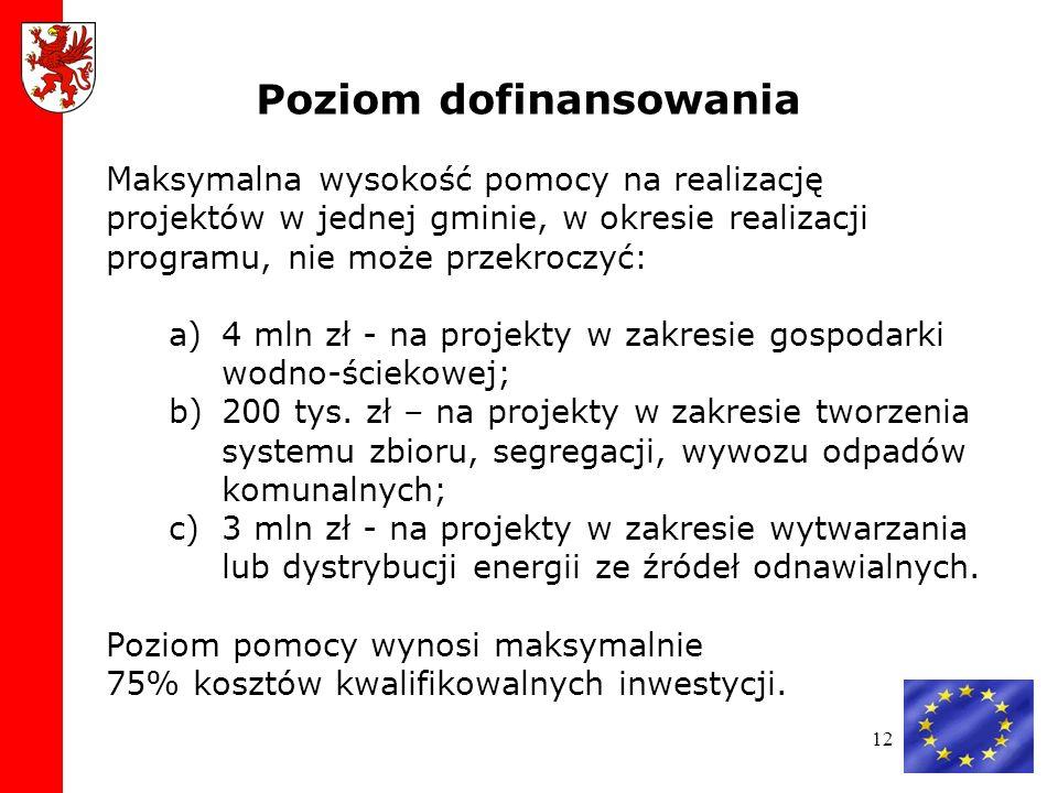 12 Maksymalna wysokość pomocy na realizację projektów w jednej gminie, w okresie realizacji programu, nie może przekroczyć: a)4 mln zł - na projekty w zakresie gospodarki wodno-ściekowej; b)200 tys.