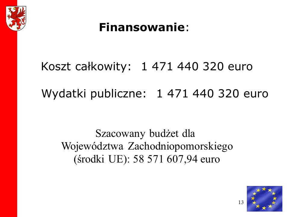 13 Koszt całkowity: 1 471 440 320 euro Wydatki publiczne: 1 471 440 320 euro Szacowany budżet dla Województwa Zachodniopomorskiego (środki UE): 58 571 607,94 euro Finansowanie: