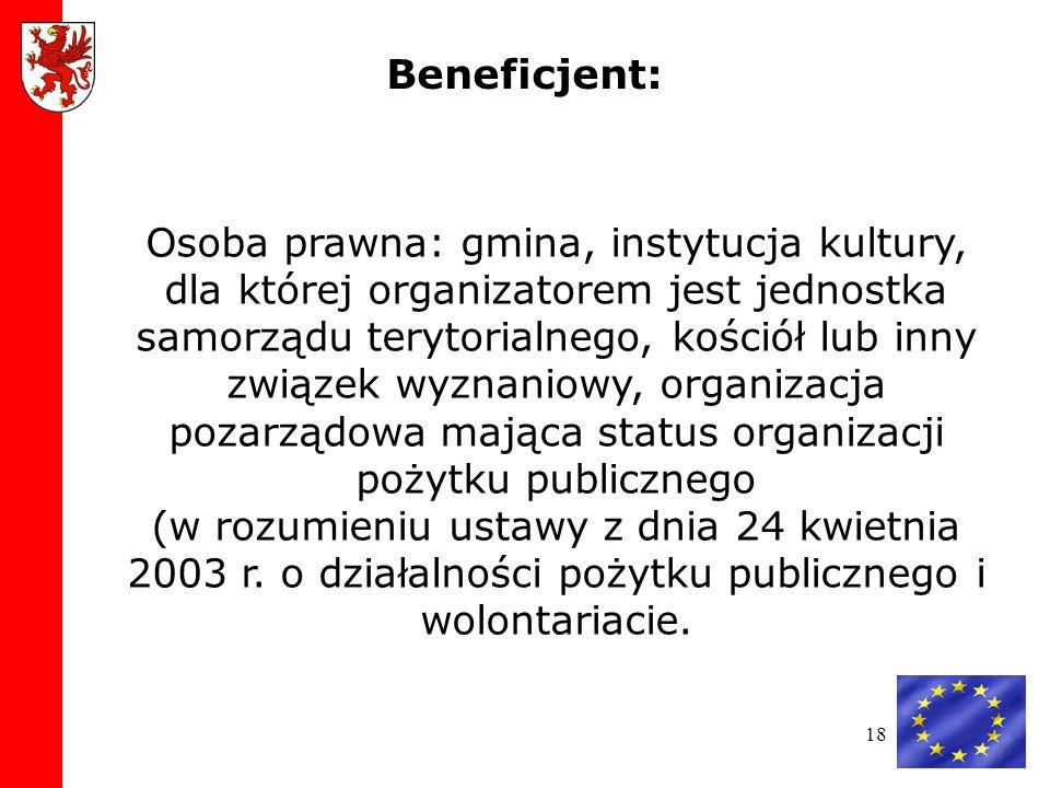 18 Osoba prawna: gmina, instytucja kultury, dla której organizatorem jest jednostka samorządu terytorialnego, kościół lub inny związek wyznaniowy, organizacja pozarządowa mająca status organizacji pożytku publicznego (w rozumieniu ustawy z dnia 24 kwietnia 2003 r.