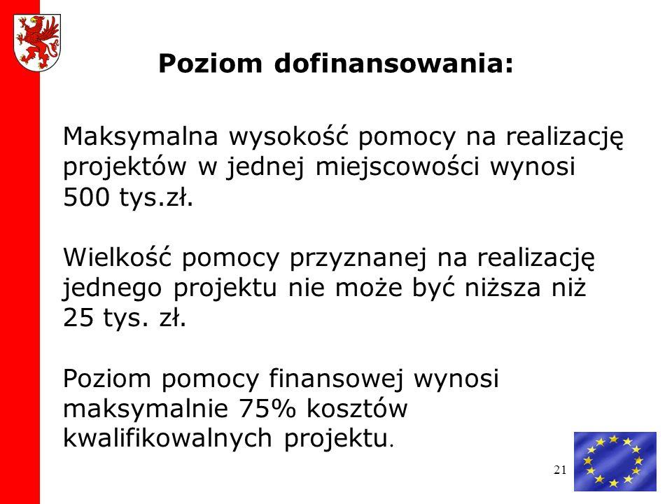 21 Maksymalna wysokość pomocy na realizację projektów w jednej miejscowości wynosi 500 tys.zł.