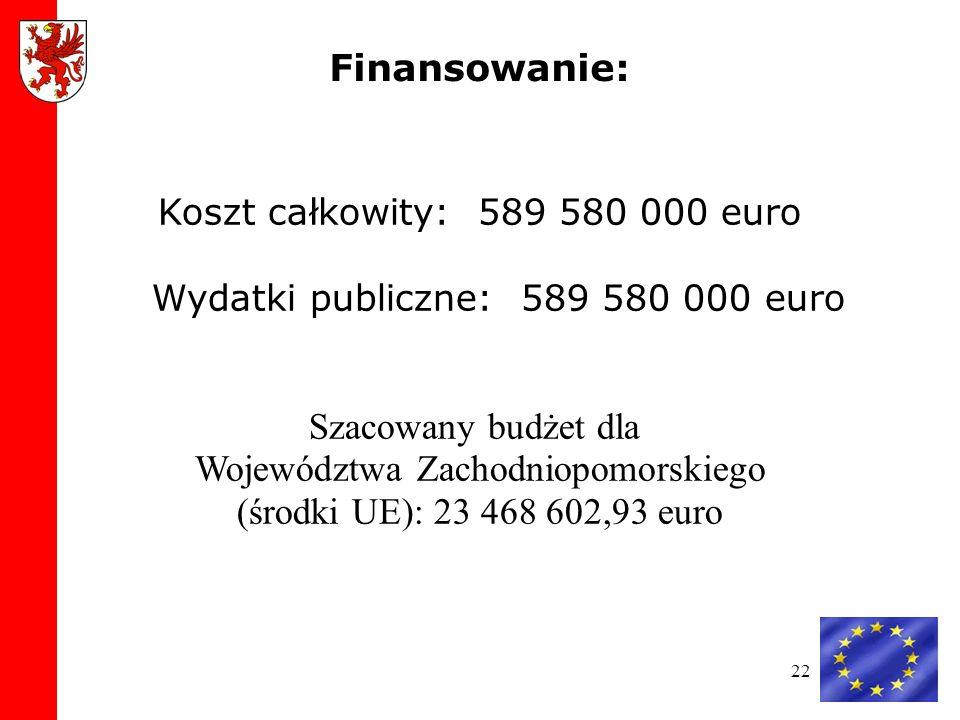 22 Koszt całkowity: 589 580 000 euro Wydatki publiczne: 589 580 000 euro Szacowany budżet dla Województwa Zachodniopomorskiego (środki UE): 23 468 602,93 euro Finansowanie: