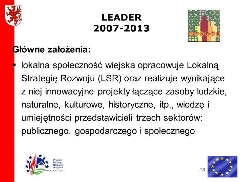 23 LEADER 2007-2013 Główne założenia: lokalna społeczność wiejska opracowuje Lokalną Strategię Rozwoju (LSR) oraz realizuje wynikające z niej innowacyjne projekty łączące zasoby ludzkie, naturalne, kulturowe, historyczne, itp., wiedzę i umiejętności przedstawicieli trzech sektorów: publicznego, gospodarczego i społecznego