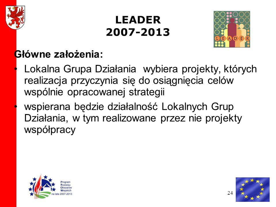 24 LEADER 2007-2013 Główne założenia: Lokalna Grupa Działania wybiera projekty, których realizacja przyczynia się do osiągnięcia celów wspólnie opracowanej strategii wspierana będzie działalność Lokalnych Grup Działania, w tym realizowane przez nie projekty współpracy