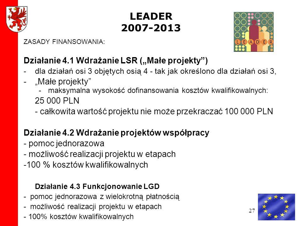 27 LEADER 2007-2013 ZASADY FINANSOWANIA: Działanie 4.1 Wdrażanie LSR (Małe projekty) -dla działań osi 3 objętych osią 4 - tak jak określono dla działań osi 3, -Małe projekty -maksymalna wysokość dofinansowania kosztów kwalifikowalnych: 25 000 PLN - całkowita wartość projektu nie może przekraczać 100 000 PLN Działanie 4.2 Wdrażanie projektów współpracy - pomoc jednorazowa - możliwość realizacji projektu w etapach -100 % kosztów kwalifikowalnych Działanie 4.3 Funkcjonowanie LGD - pomoc jednorazowa z wielokrotną płatnością - możliwość realizacji projektu w etapach - 100% kosztów kwalifikowalnych