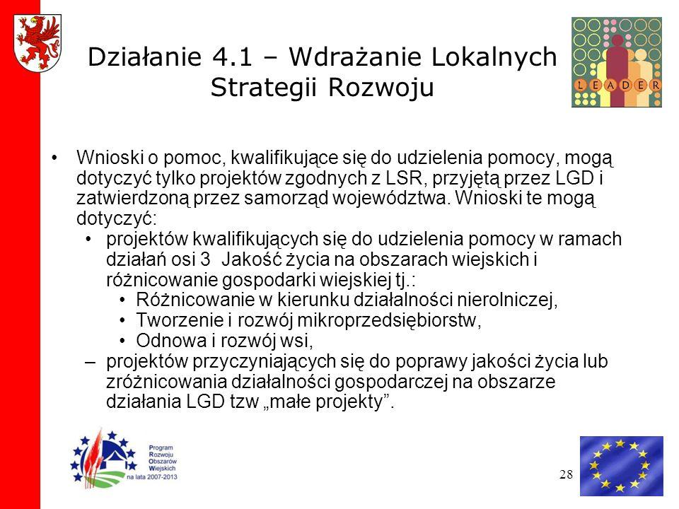 28 Działanie 4.1 – Wdrażanie Lokalnych Strategii Rozwoju Wnioski o pomoc, kwalifikujące się do udzielenia pomocy, mogą dotyczyć tylko projektów zgodnych z LSR, przyjętą przez LGD i zatwierdzoną przez samorząd województwa.