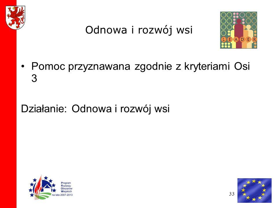33 Odnowa i rozwój wsi Pomoc przyznawana zgodnie z kryteriami Osi 3 Działanie: Odnowa i rozwój wsi