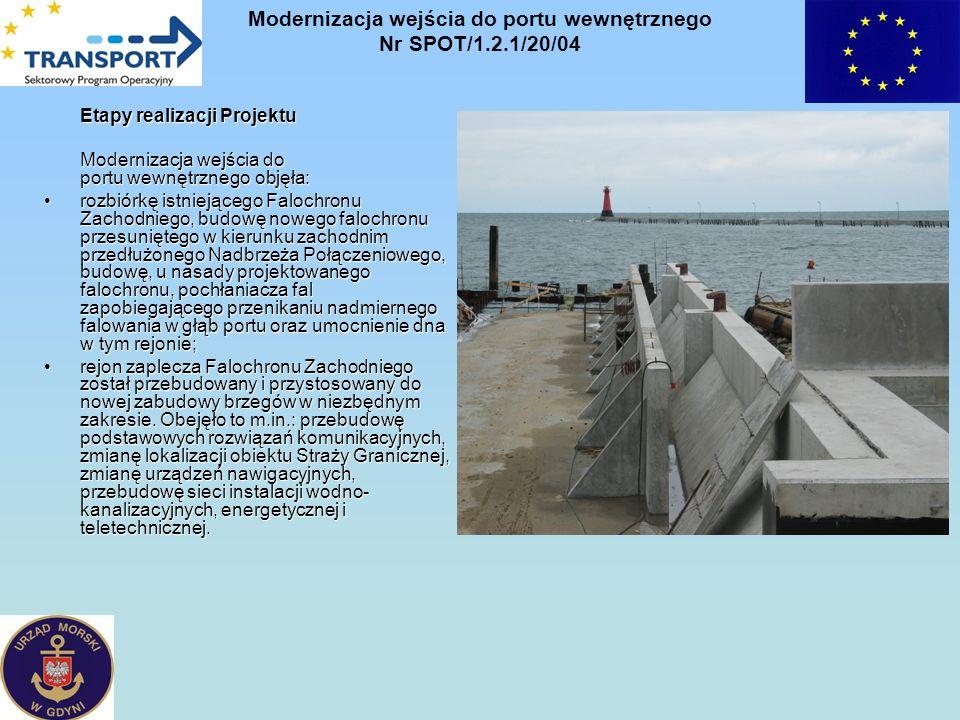 Etapy realizacji Projektu Modernizacja wejścia do portu wewnętrznego objęła: rozbiórkę istniejącego Falochronu Zachodniego, budowę nowego falochronu p