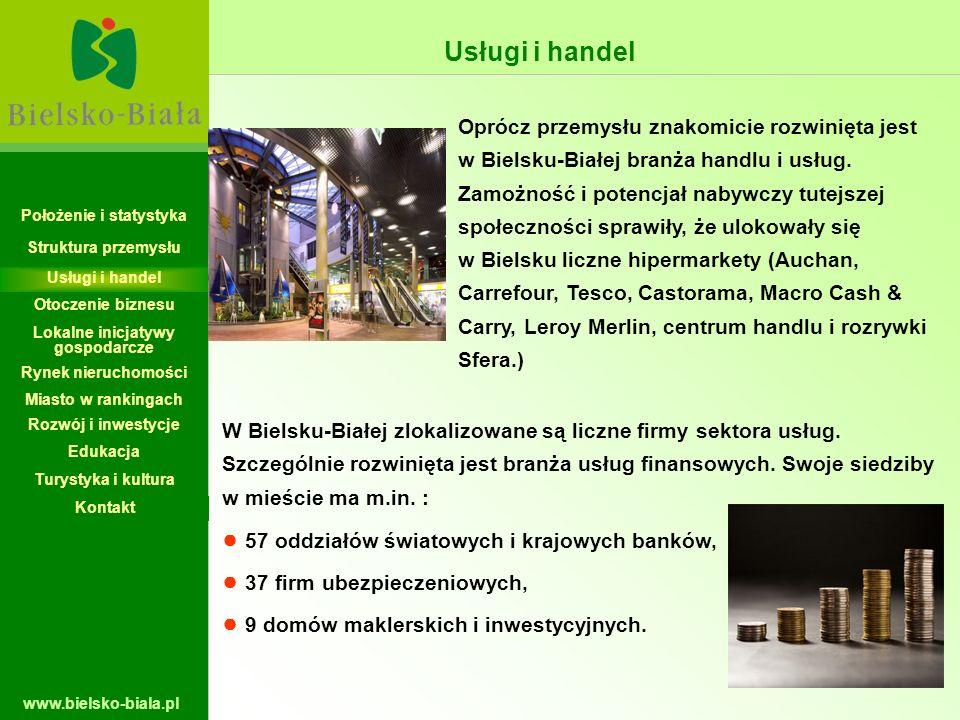 www.bielsko-biala.pl Oprócz przemysłu znakomicie rozwinięta jest w Bielsku-Białej branża handlu i usług. Zamożność i potencjał nabywczy tutejszej społ
