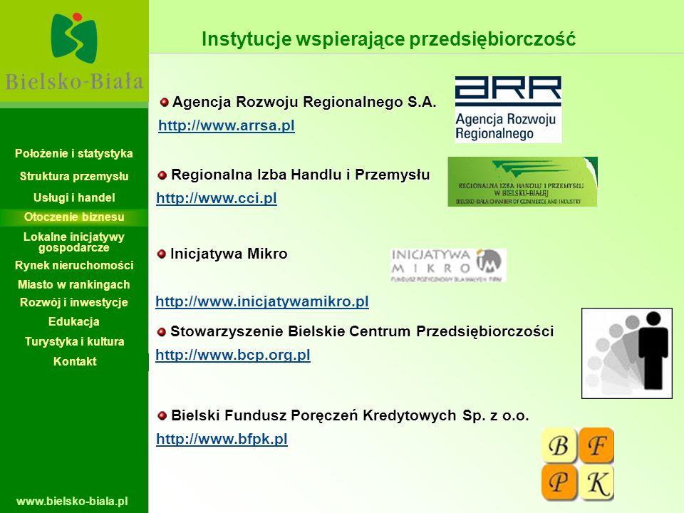 www.bielsko-biala.pl Instytucje wspierające przedsiębiorczość Agencja Rozwoju Regionalnego S.A. Agencja Rozwoju Regionalnego S.A. http://www.arrsa.pl