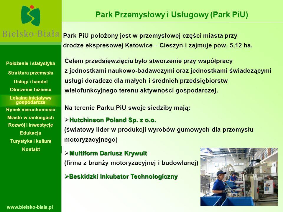 www.bielsko-biala.pl Park PiU położony jest w przemysłowej części miasta przy drodze ekspresowej Katowice – Cieszyn i zajmuje pow. 5,12 ha. Celem prze