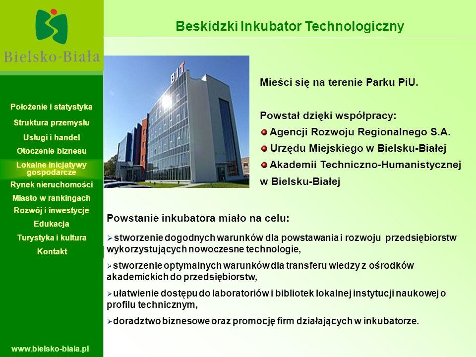 www.bielsko-biala.pl Mieści się na terenie Parku PiU. Powstał dzięki współpracy: Agencji Rozwoju Regionalnego S.A. Urzędu Miejskiego w Bielsku-Białej