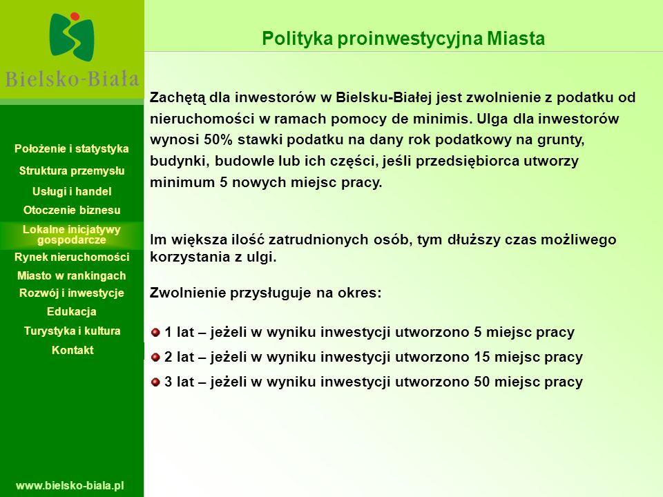 www.bielsko-biala.pl Polityka proinwestycyjna Miasta Zachętą dla inwestorów w Bielsku-Białej jest zwolnienie z podatku od nieruchomości w ramach pomoc