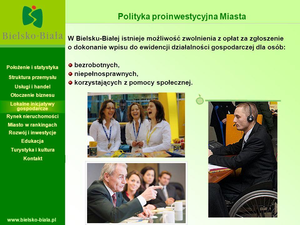 www.bielsko-biala.pl W Bielsku-Białej istnieje możliwość zwolnienia z opłat za zgłoszenie o dokonanie wpisu do ewidencji działalności gospodarczej dla