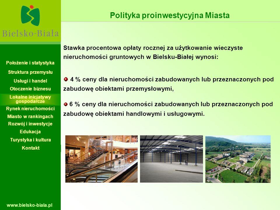 www.bielsko-biala.pl Stawka procentowa opłaty rocznej za użytkowanie wieczyste nieruchomości gruntowych w Bielsku-Białej wynosi: 4 % ceny dla nierucho