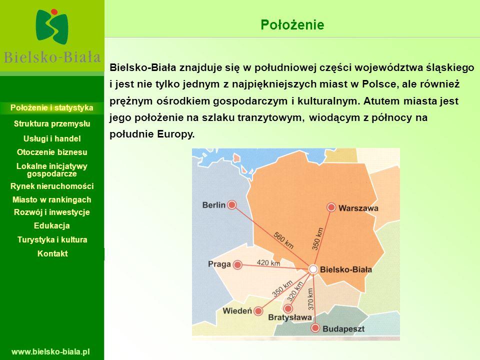 www.bielsko-biala.pl Położenie Bielsko-Biała znajduje się w południowej części województwa śląskiego i jest nie tylko jednym z najpiękniejszych miast