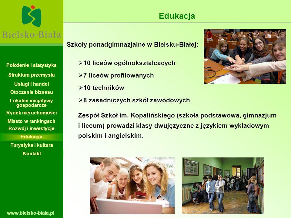 www.bielsko-biala.pl Edukacja Szkoły ponadgimnazjalne w Bielsku-Białej: 10 liceów ogólnokształcących 7 liceów profilowanych 10 techników 8 zasadniczyc