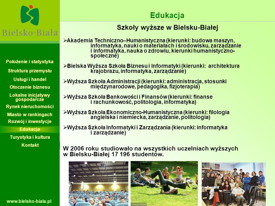 www.bielsko-biala.pl Akademia Techniczno–Humanistyczna (kierunki: budowa maszyn, informatyka, nauki o materiałach i środowisku, zarządzanie i informat