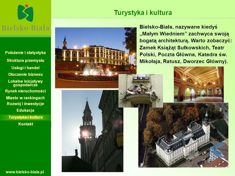www.bielsko-biala.pl Turystyka i kultura Bielsko-Biała, nazywane kiedyś Małym Wiedniem zachwyca swoją bogatą architekturą. Warto zobaczyć: Zamek Książ