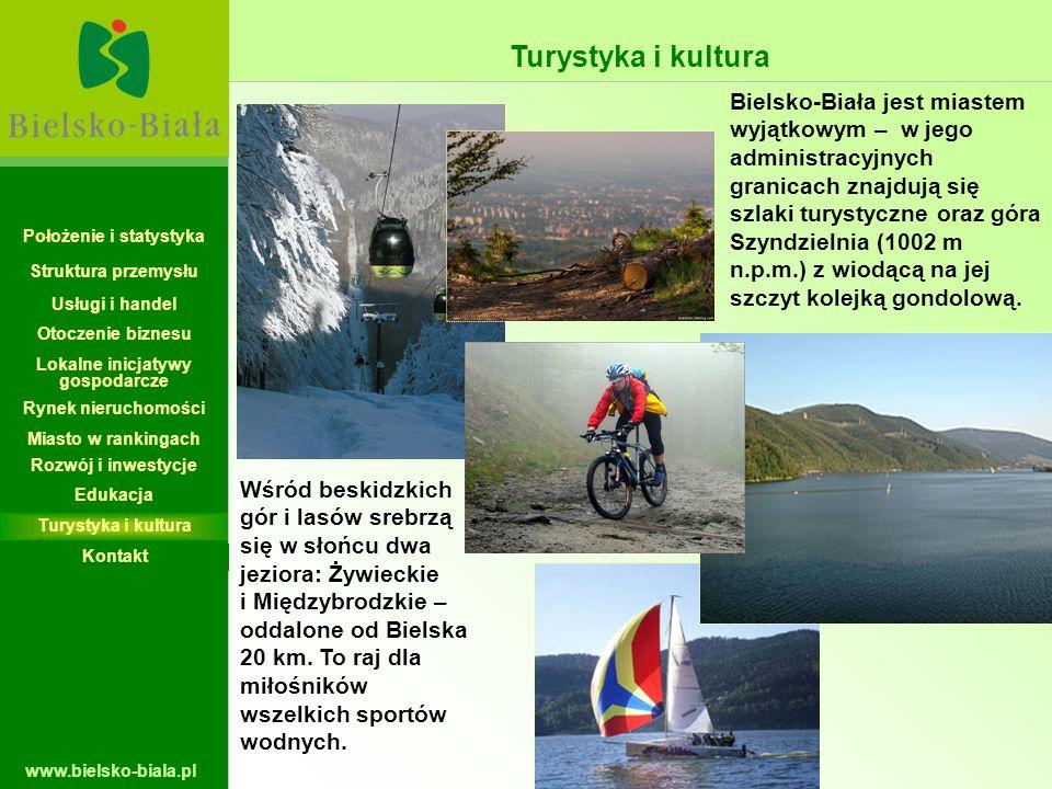 www.bielsko-biala.pl Bielsko-Biała jest miastem wyjątkowym – w jego administracyjnych granicach znajdują się szlaki turystyczne oraz góra Szyndzielnia
