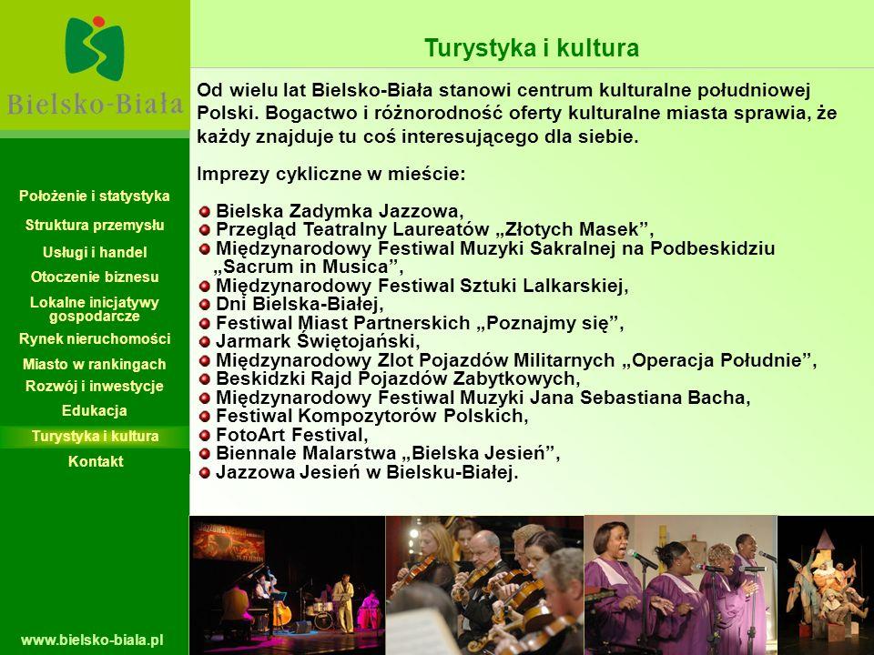 www.bielsko-biala.pl Od wielu lat Bielsko-Biała stanowi centrum kulturalne południowej Polski. Bogactwo i różnorodność oferty kulturalne miasta sprawi