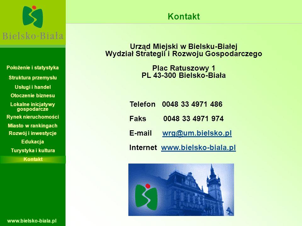 www.bielsko-biala.pl Kontakt Urząd Miejski w Bielsku-Białej Wydział Strategii i Rozwoju Gospodarczego Plac Ratuszowy 1 PL 43-300 Bielsko-Biała Telefon