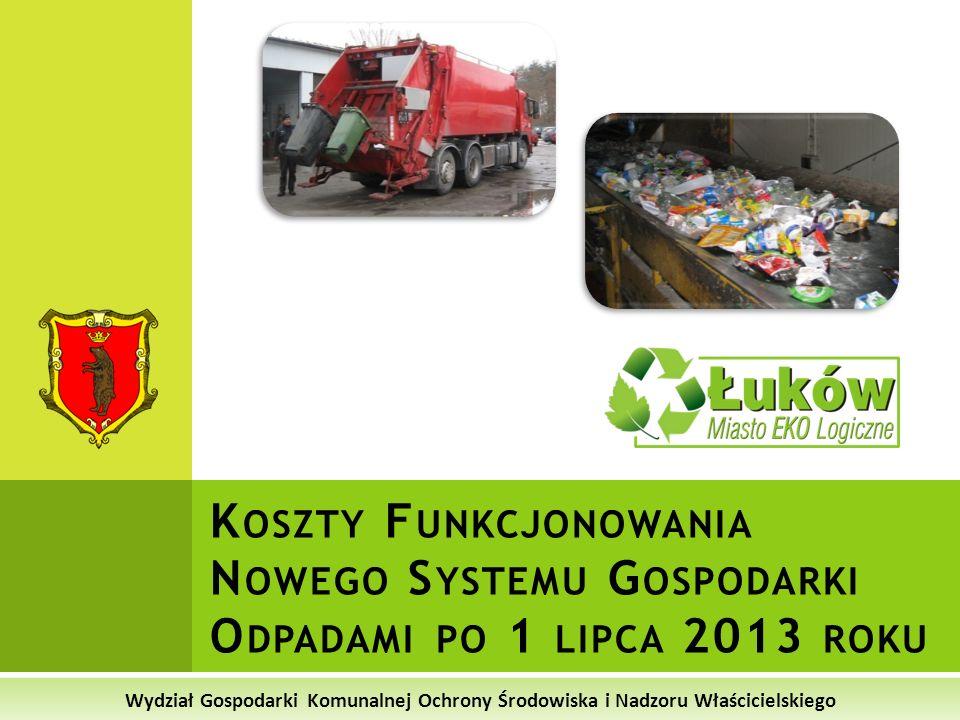 Wydział Gospodarki Komunalnej Ochrony Środowiska i Nadzoru Właścicielskiego Suma kosztów opłaty za gospodarowanie odpadami komunalnymi po 1 lipca 2013 roku ______________________________________________ Odbiór i transport odpadów do RIPOK (w tym pojemniki i worki) - 5,20 zł Koszty zagospodarowania i unieszkodliwienia odpadów w RIPOK - 3,35 zł Koszty funkcjonowania PSZOK - 0,96 zł Koszty administracyjne systemu - 0,49 zł ________________________ suma kosztów: 10,00 zł* * Przy założeniu 100% ściągalności opłaty za odpady od mieszkańców * 10 zł dla rodzin do 3 osób