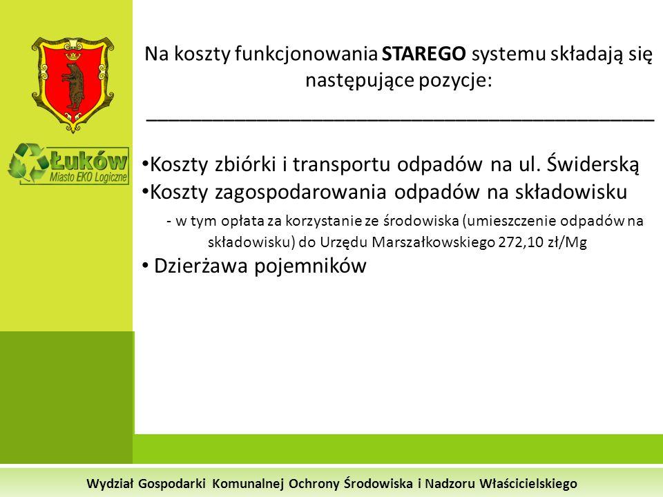 Wydział Gospodarki Komunalnej Ochrony Środowiska i Nadzoru Właścicielskiego Na koszty funkcjonowania STAREGO systemu składają się następujące pozycje: