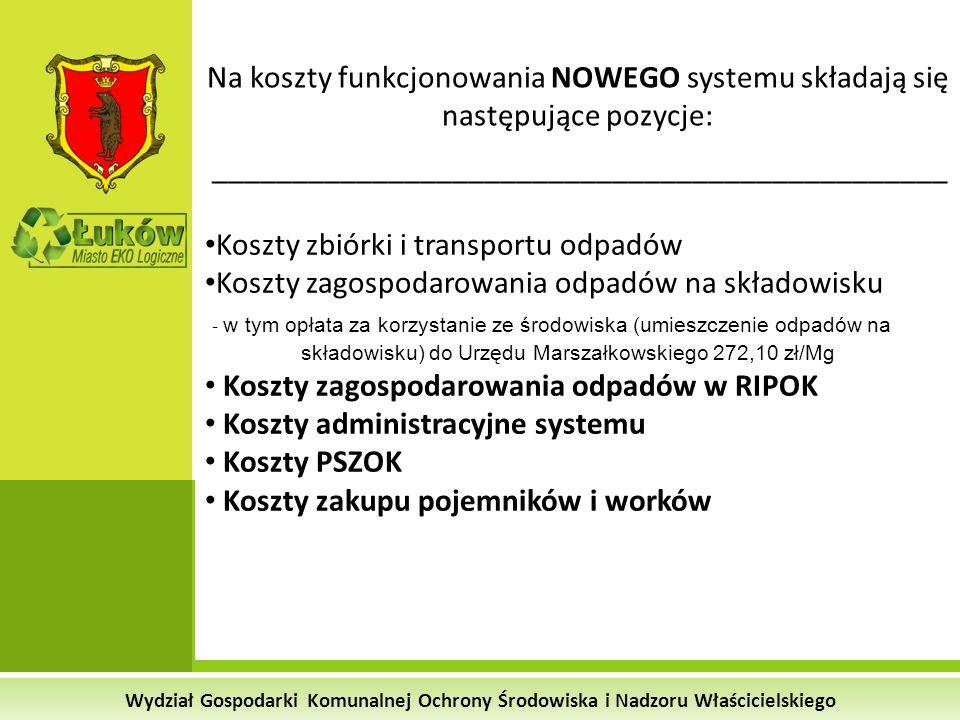 Wydział Gospodarki Komunalnej Ochrony Środowiska i Nadzoru Właścicielskiego Na koszty funkcjonowania NOWEGO systemu składają się następujące pozycje: