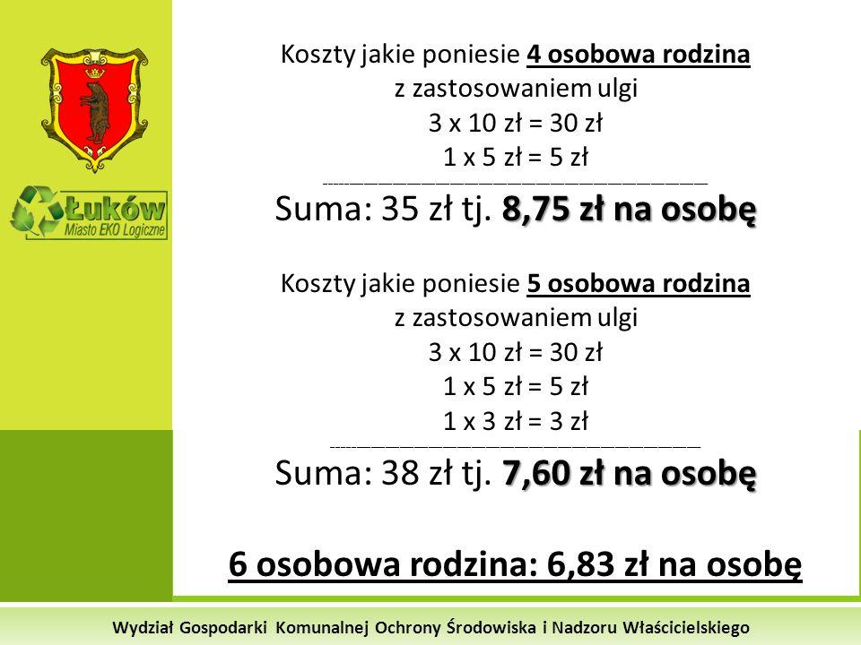 Wydział Gospodarki Komunalnej Ochrony Środowiska i Nadzoru Właścicielskiego Koszty jakie poniesie 4 osobowa rodzina z zastosowaniem ulgi 3 x 10 zł = 3