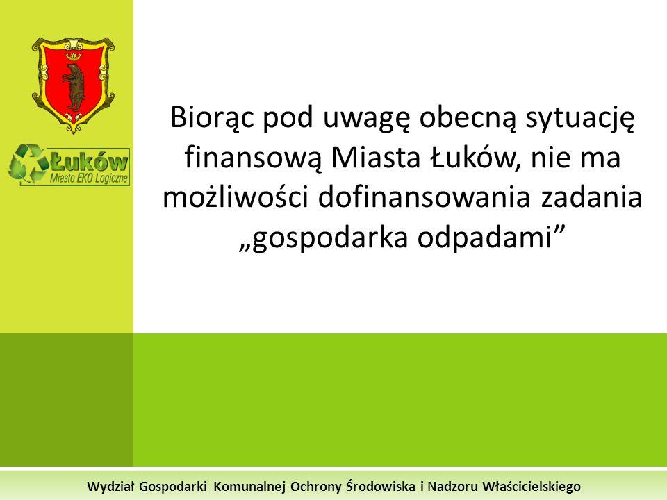 Wydział Gospodarki Komunalnej Ochrony Środowiska i Nadzoru Właścicielskiego Biorąc pod uwagę obecną sytuację finansową Miasta Łuków, nie ma możliwości