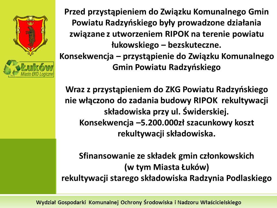 Wydział Gospodarki Komunalnej Ochrony Środowiska i Nadzoru Właścicielskiego Przed przystąpieniem do Związku Komunalnego Gmin Powiatu Radzyńskiego były