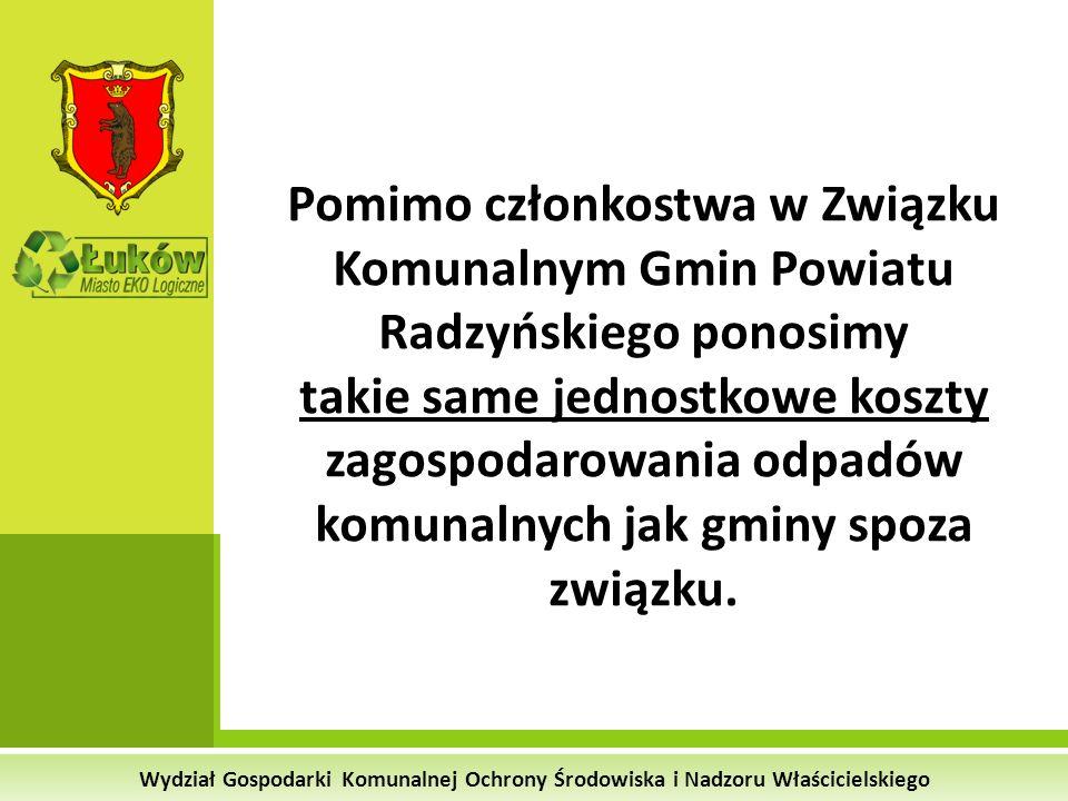 Wydział Gospodarki Komunalnej Ochrony Środowiska i Nadzoru Właścicielskiego Pomimo członkostwa w Związku Komunalnym Gmin Powiatu Radzyńskiego ponosimy