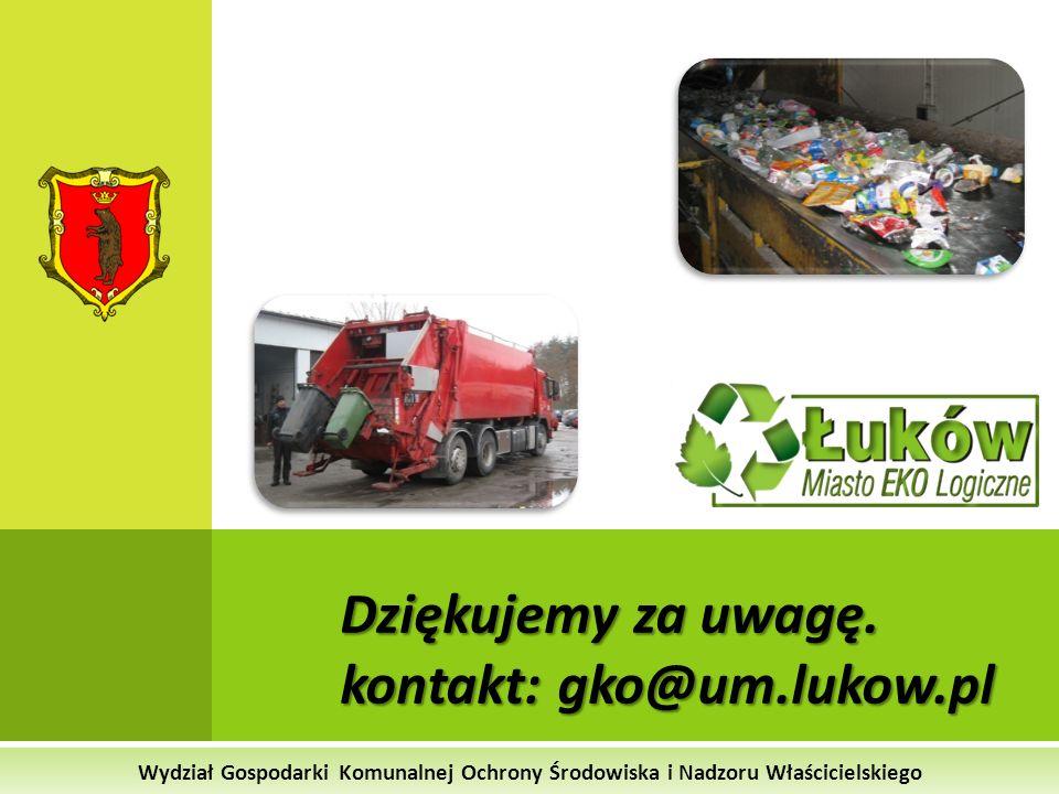 Wydział Gospodarki Komunalnej Ochrony Środowiska i Nadzoru Właścicielskiego Dziękujemy za uwagę. kontakt: gko@um.lukow.pl