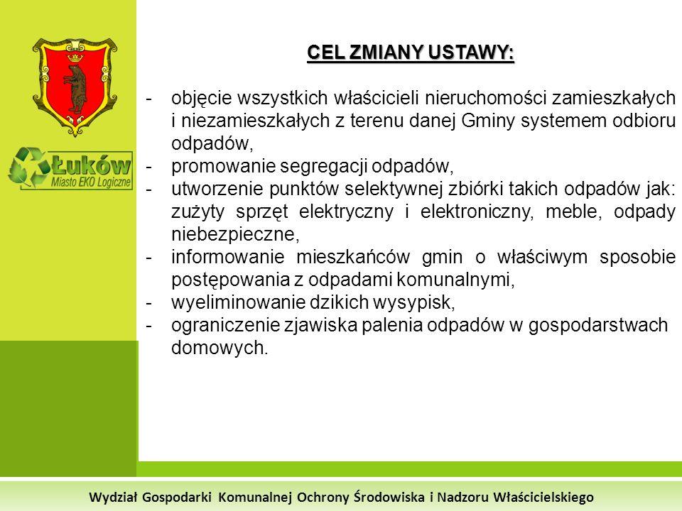 Wydział Gospodarki Komunalnej Ochrony Środowiska i Nadzoru Właścicielskiego RODZAJE WYTWARZANYCH ODPADÓW w 2012 roku na terenie Miasta Łuków odbieranych przez PUiIK Zmieszane odpady komunalne: 5 016,8 Mg (opłata w Adamkach 280,80 zł/tona) Odpady ulegające biodegradacji: 154,6 Mg (opłata w Adamkach 259,20 zł/tona) Opakowania za szkła: 225,1 Mg (opłata w Adamkach 81,00 zł/tona) Opakowania z papieru i tektury : 195,2 Mg (opłata w Adamkach 81,00 zł/tona) Opakowania z tworzyw sztucznych: 93,5 Mg (opłata w Adamkach 81,00 zł/tona)