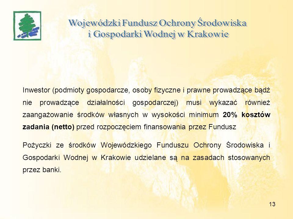 13 Inwestor (podmioty gospodarcze, osoby fizyczne i prawne prowadzące bądź nie prowadzące działalności gospodarczej) musi wykazać również zaangażowani