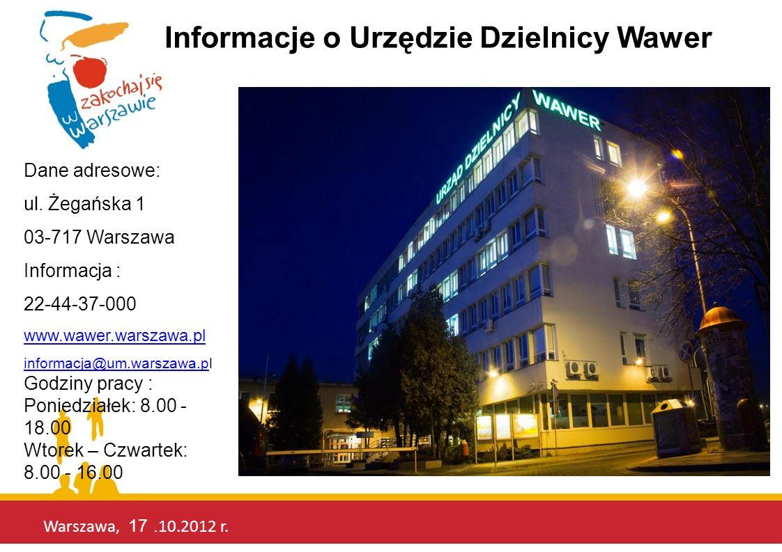 Warszawa, 17. 10.2012 r. Informacje o Urzędzie Dzielnicy Wawer Dane adresowe: ul. Żegańska 1 03-717 Warszawa Informacja : 22-44-37-000 www.wawer.warsz