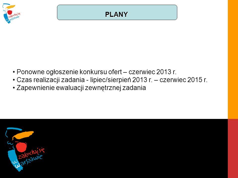 PLANY Ponowne ogłoszenie konkursu ofert – czerwiec 2013 r. Czas realizacji zadania - lipiec/sierpień 2013 r. – czerwiec 2015 r. Zapewnienie ewaluacji