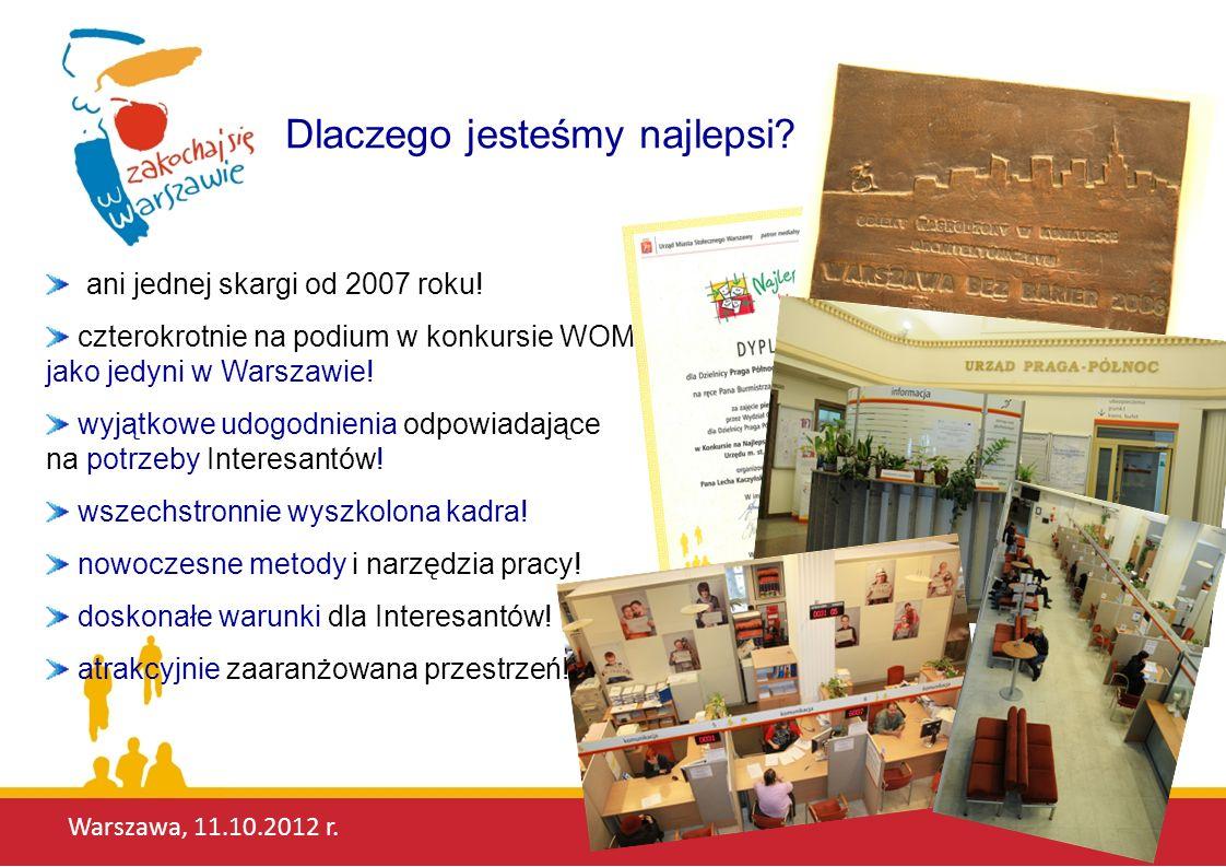 Warszawa, 11.10.2012 r. Dlaczego jesteśmy najlepsi? ani jednej skargi od 2007 roku! czterokrotnie na podium w konkursie WOM jako jedyni w Warszawie! w