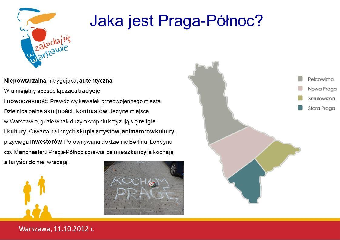 Warszawa, 11.10.2012 r. Jaka jest Praga-Północ? Niepowtarzalna, intrygująca, autentyczna. W umiejętny sposób łącząca tradycję i nowoczesność. Prawdziw