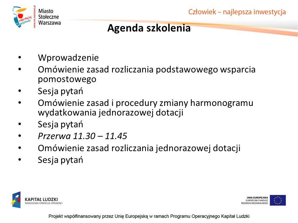Agenda szkolenia Wprowadzenie Omówienie zasad rozliczania podstawowego wsparcia pomostowego Sesja pytań Omówienie zasad i procedury zmiany harmonogram